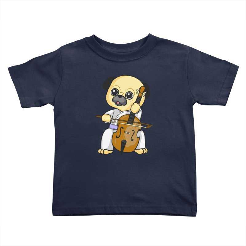Puggie plays the Cello Kids Toddler T-Shirt by Dino & Panda Inc Artist Shop