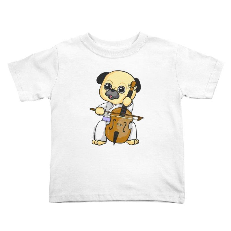 Puggie plays the Cello Kids Toddler T-Shirt by Dino & Panda Inc Artist Shop
