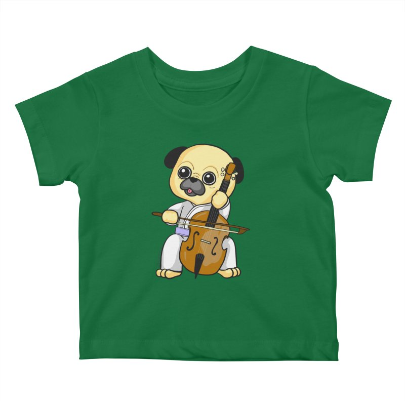 Puggie plays the Cello Kids Baby T-Shirt by Dino & Panda Inc Artist Shop