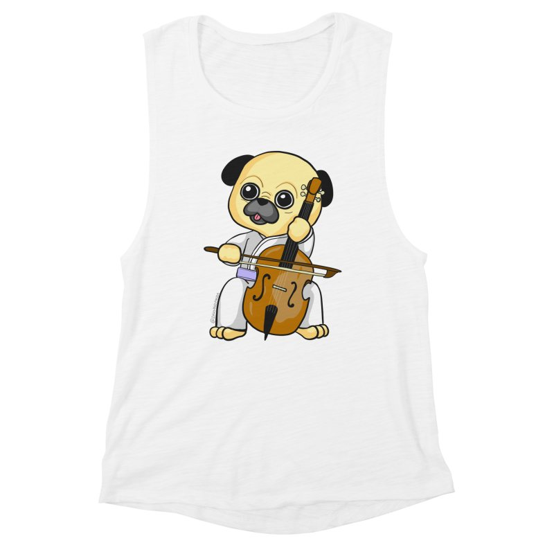 Puggie plays the Cello Women's Muscle Tank by Dino & Panda Inc Artist Shop