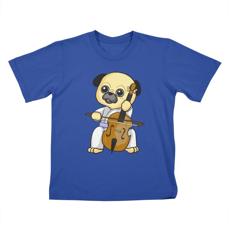 Puggie plays the Cello Kids T-Shirt by Dino & Panda Inc Artist Shop