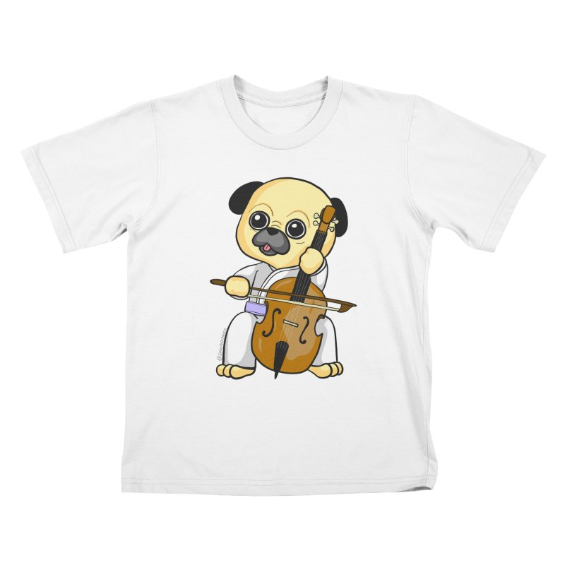 Puggie plays the Cello Kids T-Shirt by Dino & Panda Inc Artist Shop