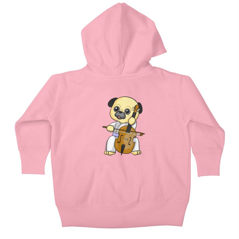 Puggie plays the Cello Kids Baby Zip-Up Hoody by Dino & Panda Inc Artist Shop
