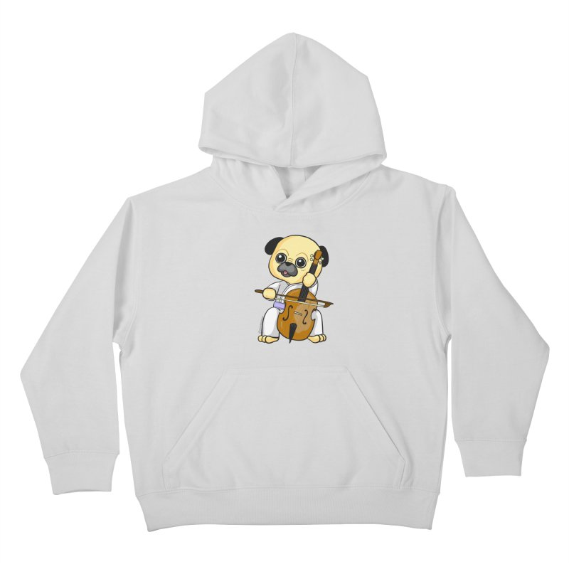 Puggie plays the Cello Kids Pullover Hoody by Dino & Panda Inc Artist Shop
