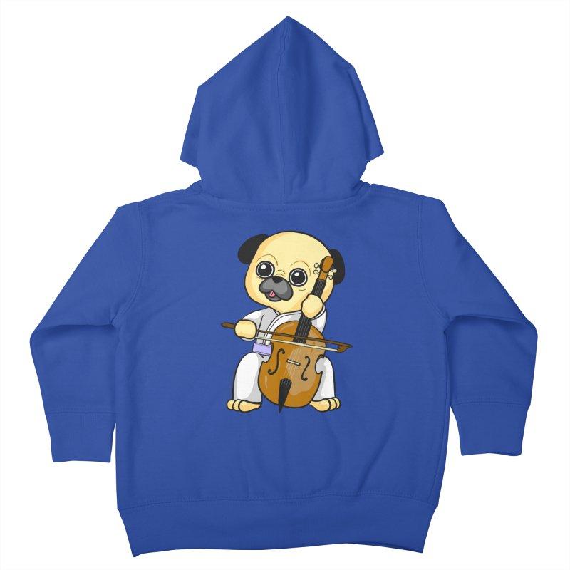 Puggie plays the Cello Kids Toddler Zip-Up Hoody by Dino & Panda Inc Artist Shop