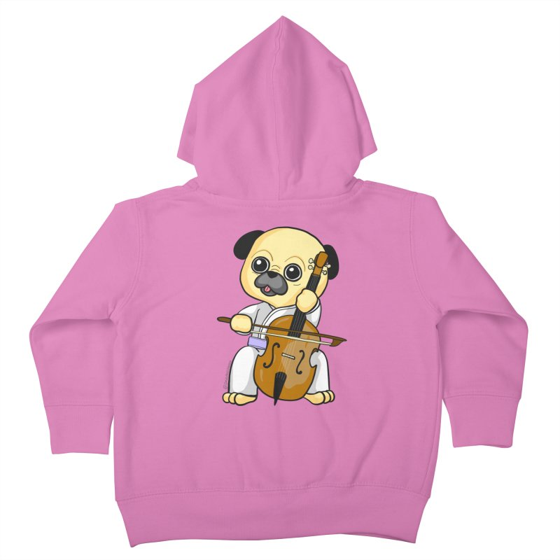 Puggie plays the Cello Kids Toddler Zip-Up Hoody by Dino & Panda Inc Artist Shop