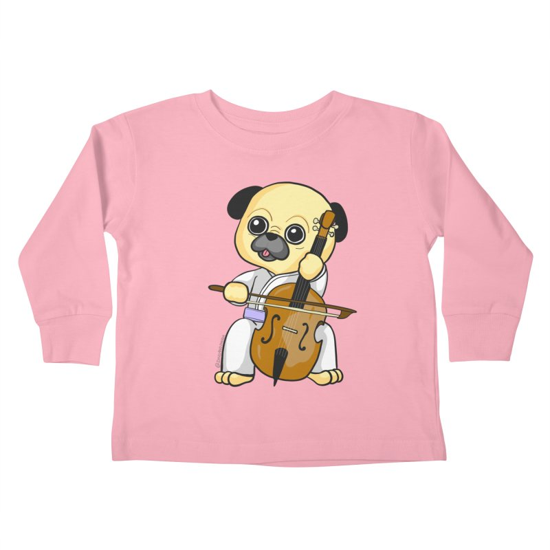 Puggie plays the Cello Kids Toddler Longsleeve T-Shirt by Dino & Panda Inc Artist Shop