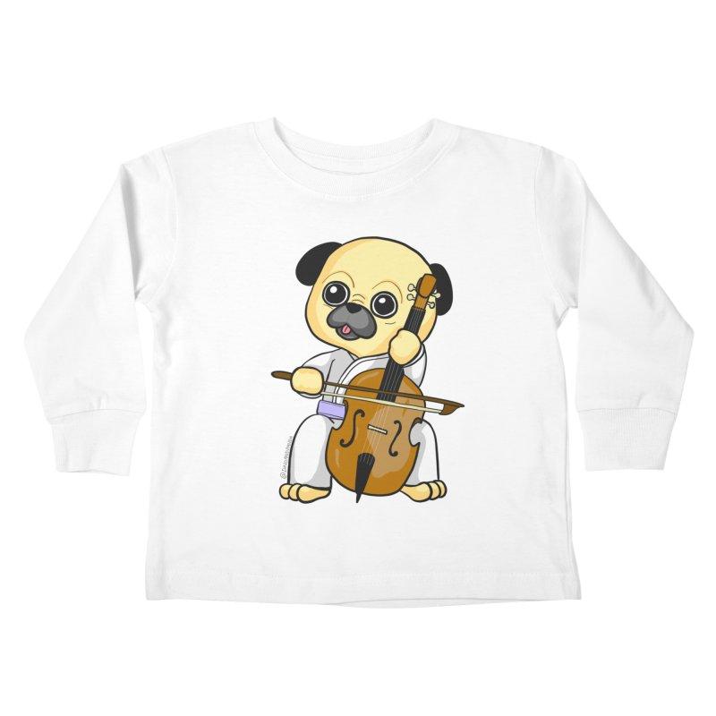 Puggie plays the Cello Kids Toddler Longsleeve T-Shirt by Dino & Panda Inc Artist Shop