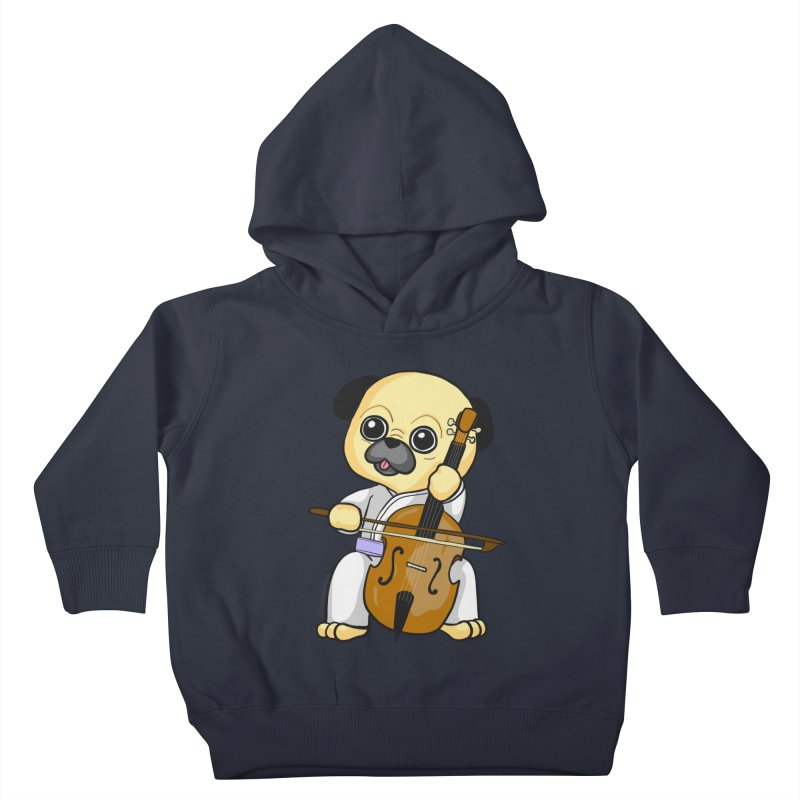 Puggie plays the Cello Kids Toddler Pullover Hoody by Dino & Panda Inc Artist Shop