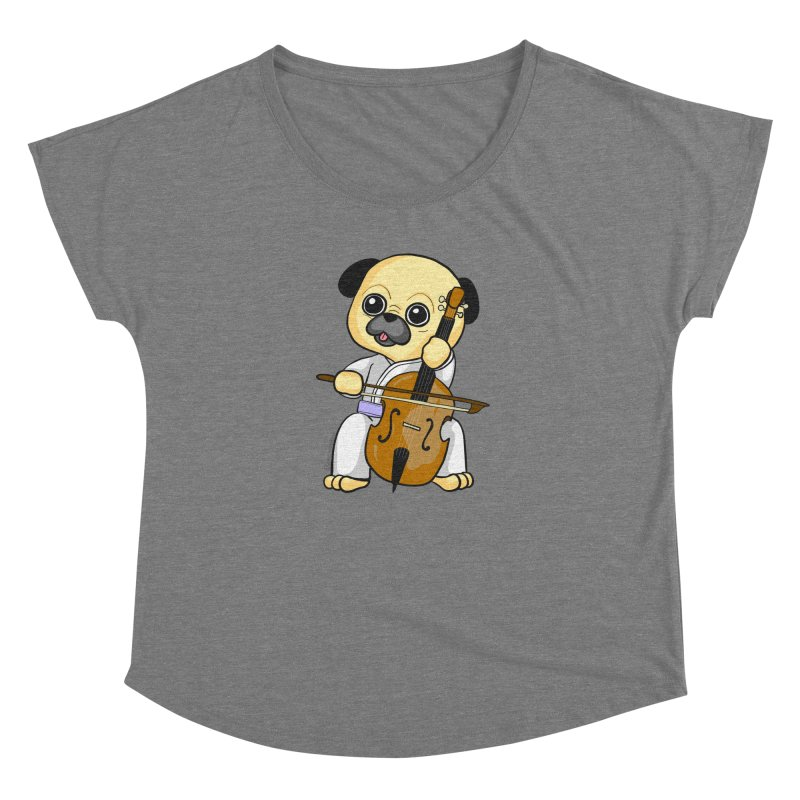 Puggie plays the Cello Women's Dolman Scoop Neck by Dino & Panda Inc Artist Shop