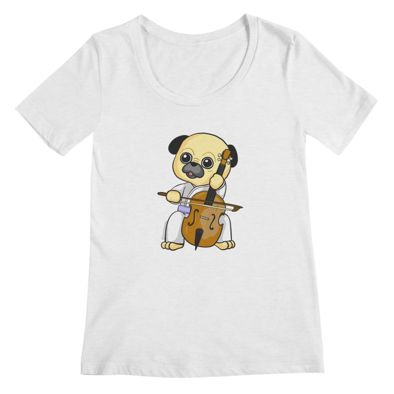Puggie plays the Cello Women's Regular Scoop Neck by Dino & Panda Inc Artist Shop