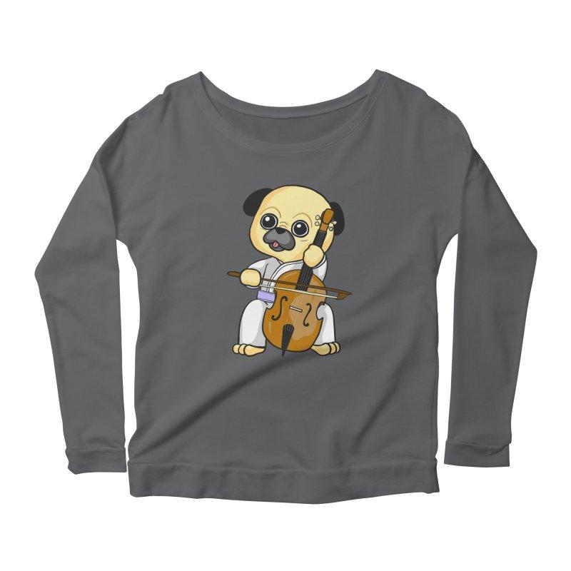 Puggie plays the Cello Women's Scoop Neck Longsleeve T-Shirt by Dino & Panda Inc Artist Shop