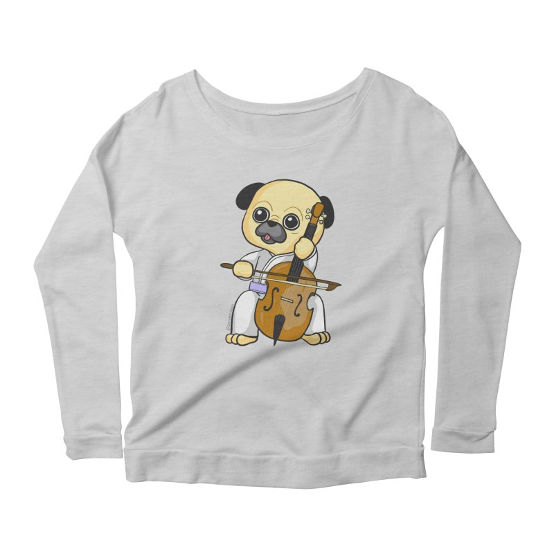 Puggie plays the Cello Women's Scoop Neck Longsleeve T-Shirt by Dino & Panda Inc Artist Shop