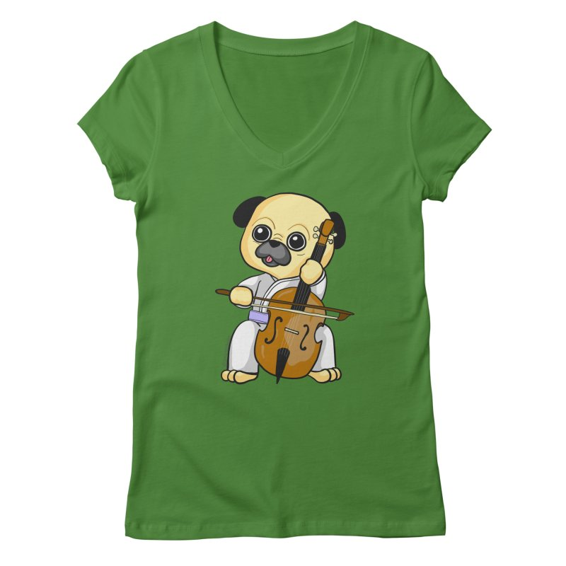 Puggie plays the Cello Women's Regular V-Neck by Dino & Panda Inc Artist Shop