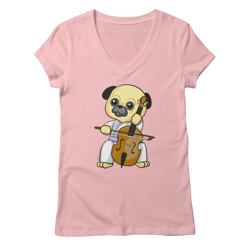 Puggie plays the Cello Women's Regular V-Neck by Dino & Panda Inc Artist Shop