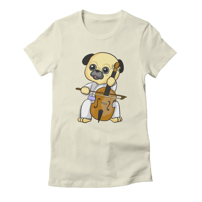 Puggie plays the Cello Women's Fitted T-Shirt by Dino & Panda Inc Artist Shop