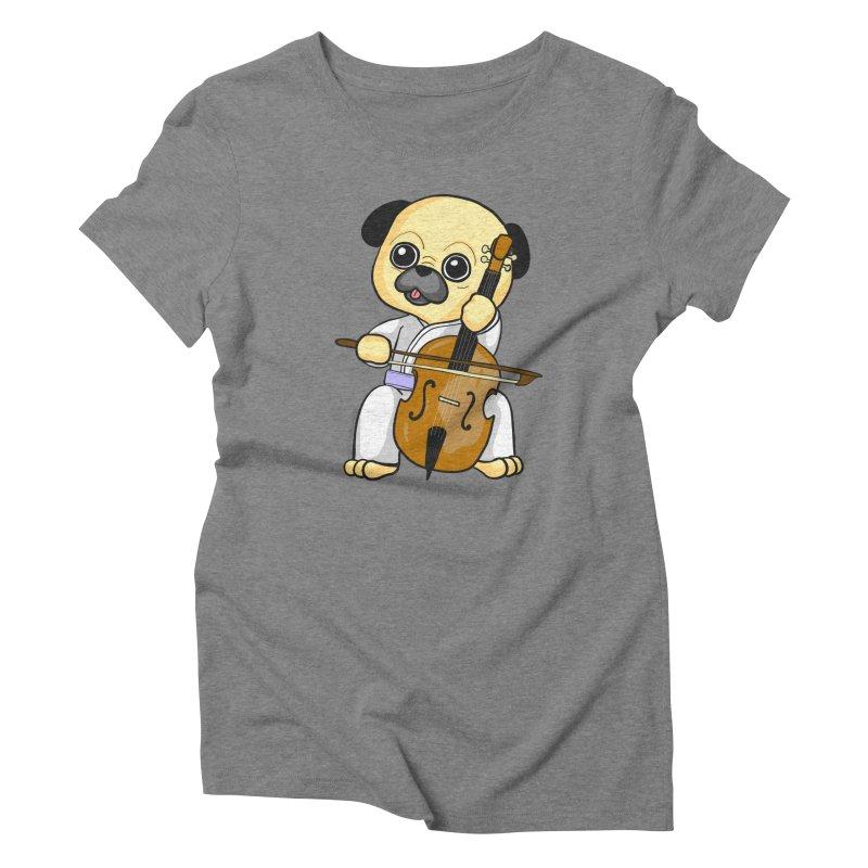 Puggie plays the Cello Women's Triblend T-Shirt by Dino & Panda Inc Artist Shop