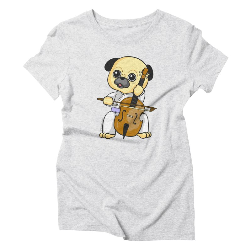 Puggie plays the Cello Women's Triblend T-Shirt by Dino & Panda Inc Artist Shop