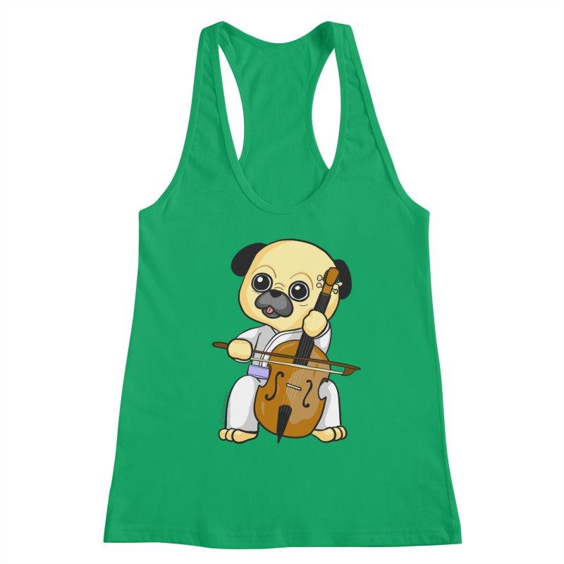 Puggie plays the Cello Women's Tank by Dino & Panda Inc Artist Shop