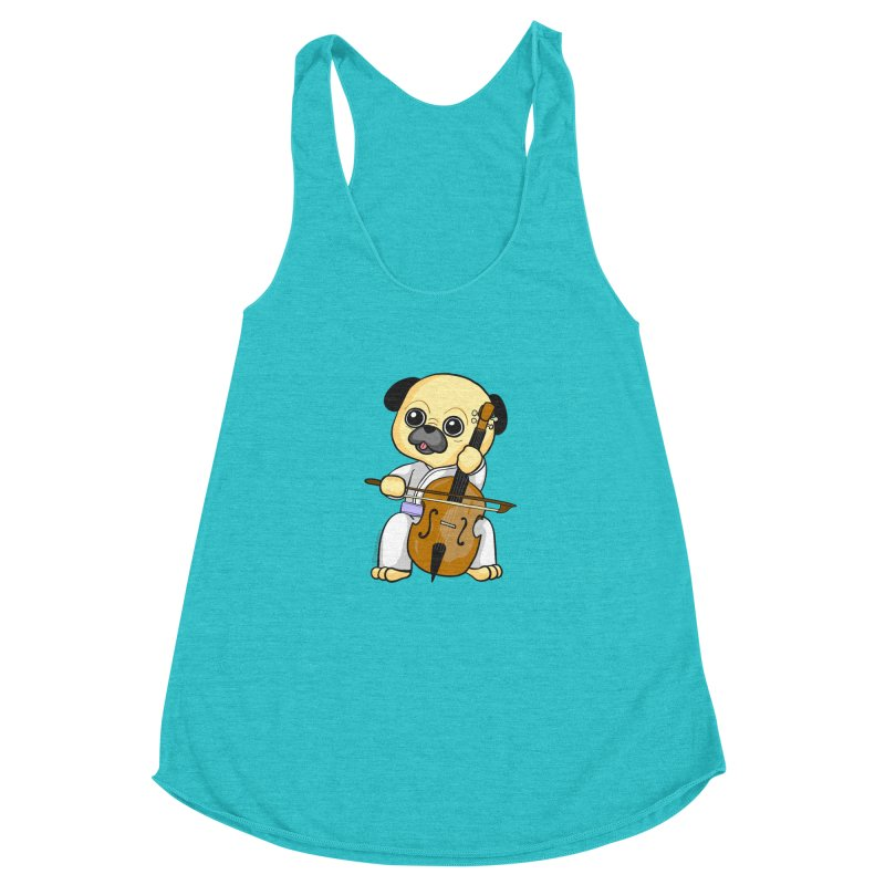 Puggie plays the Cello Women's Racerback Triblend Tank by Dino & Panda Inc Artist Shop