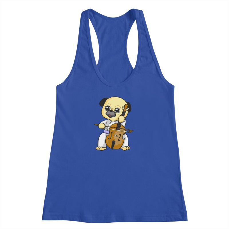 Puggie plays the Cello Women's Racerback Tank by Dino & Panda Inc Artist Shop