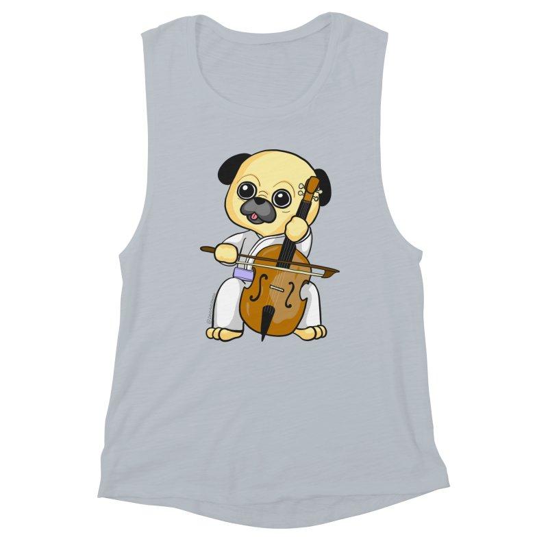 Puggie plays the Cello Women's Muscle Tank by Dino & Panda Inc Artist Shop