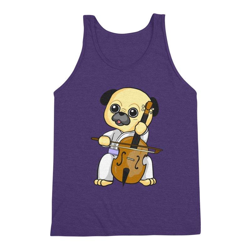 Puggie plays the Cello Men's Triblend Tank by Dino & Panda Inc Artist Shop