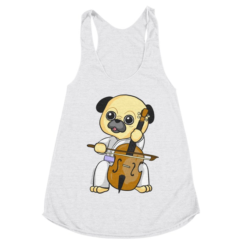 Puggie plays the Cello Women's Racerback Triblend Tank by Dino & Panda Inc Artist Shop