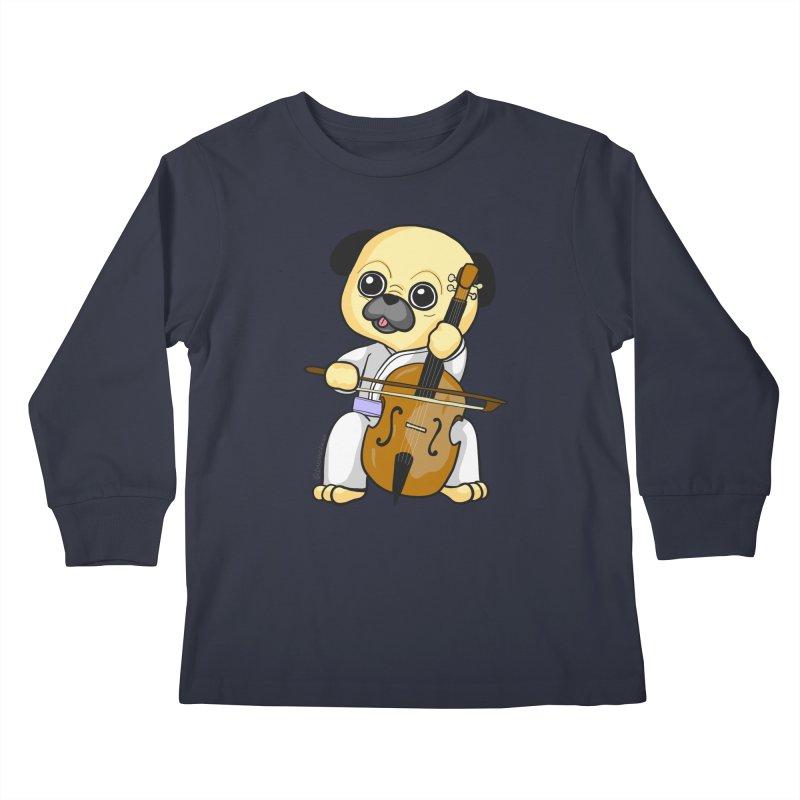 Puggie plays the Cello Kids Longsleeve T-Shirt by Dino & Panda Inc Artist Shop