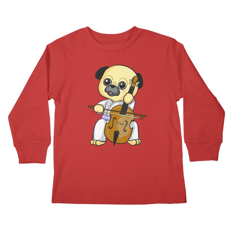 Puggie plays the Cello Kids Longsleeve T-Shirt by Dino & Panda Inc Artist Shop