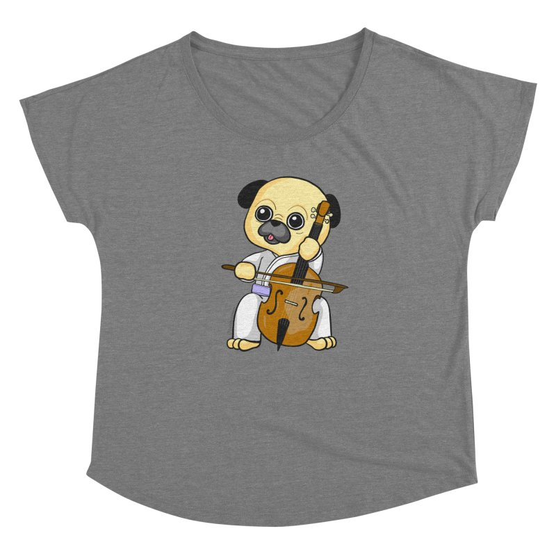 Puggie plays the Cello Women's Scoop Neck by Dino & Panda Artist Shop