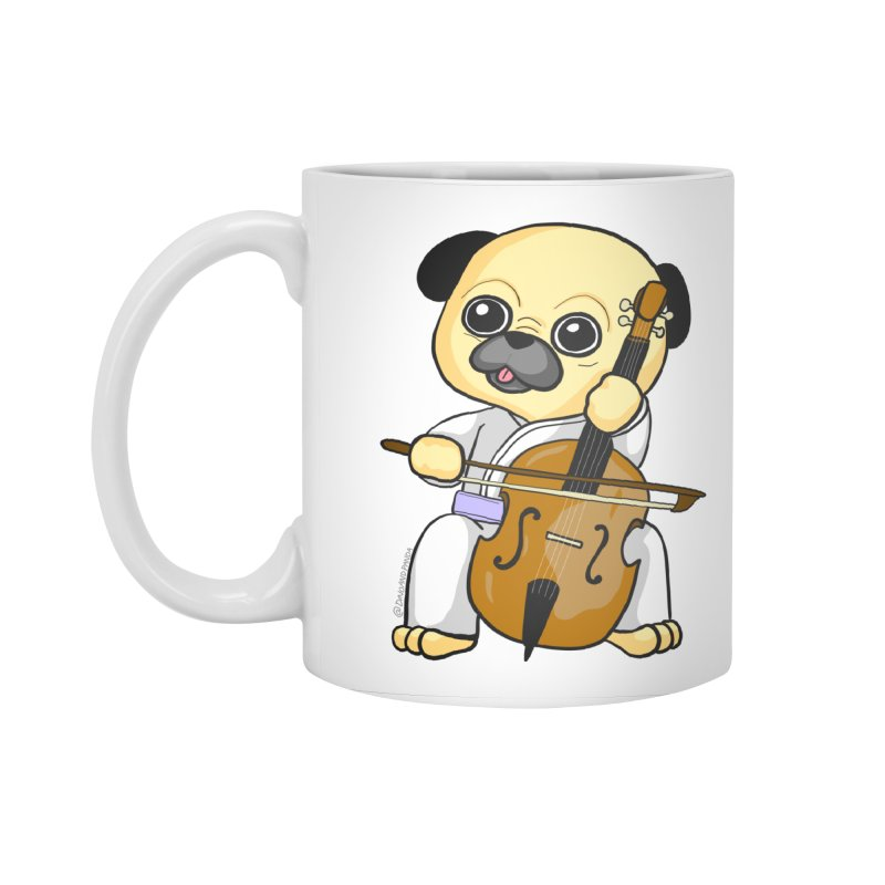 Puggie plays the Cello Accessories Mug by Dino & Panda Inc Artist Shop