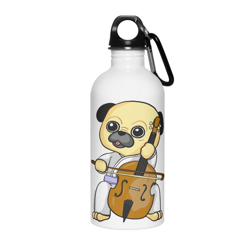 Puggie plays the Cello Accessories Water Bottle by Dino & Panda Inc Artist Shop