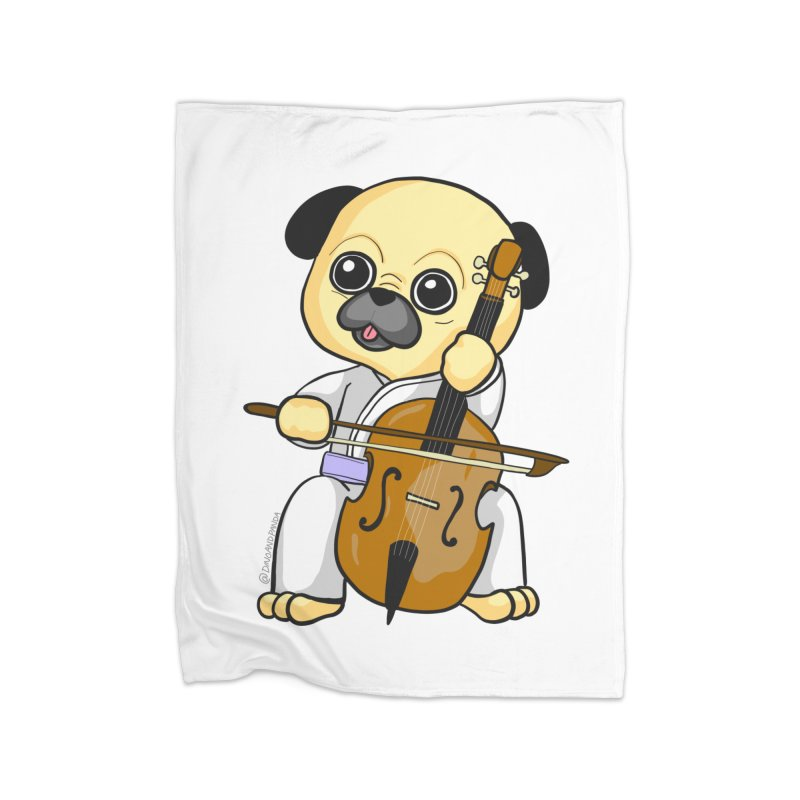Puggie plays the Cello Home Fleece Blanket Blanket by Dino & Panda Inc Artist Shop
