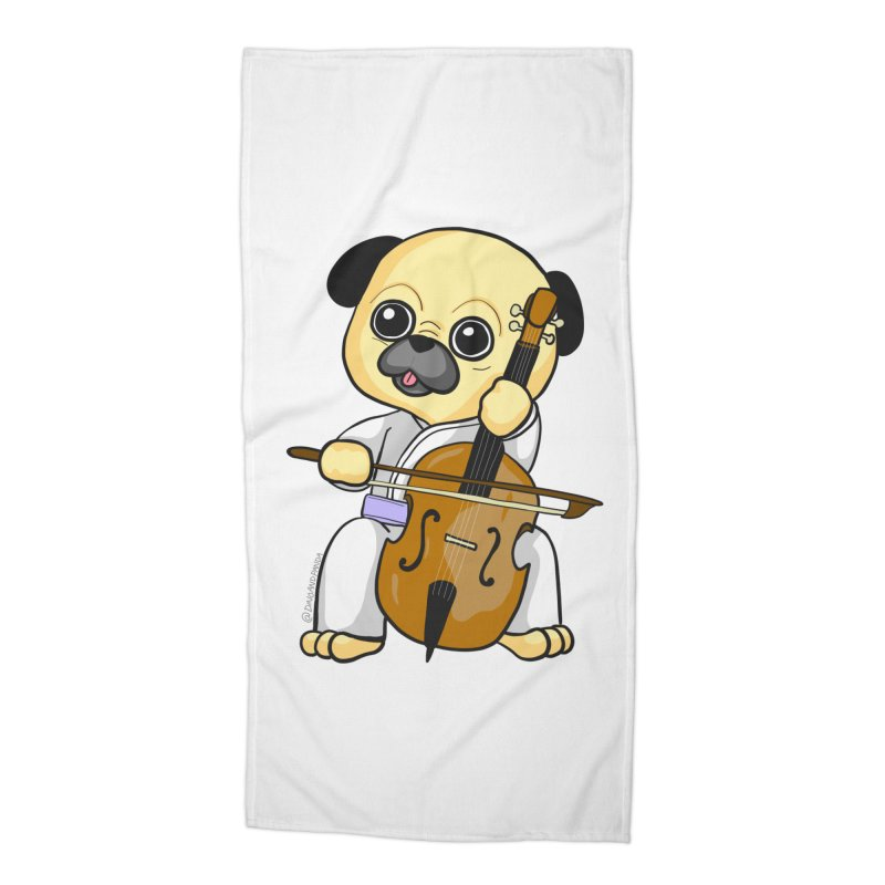 Puggie plays the Cello Accessories Beach Towel by Dino & Panda Inc Artist Shop