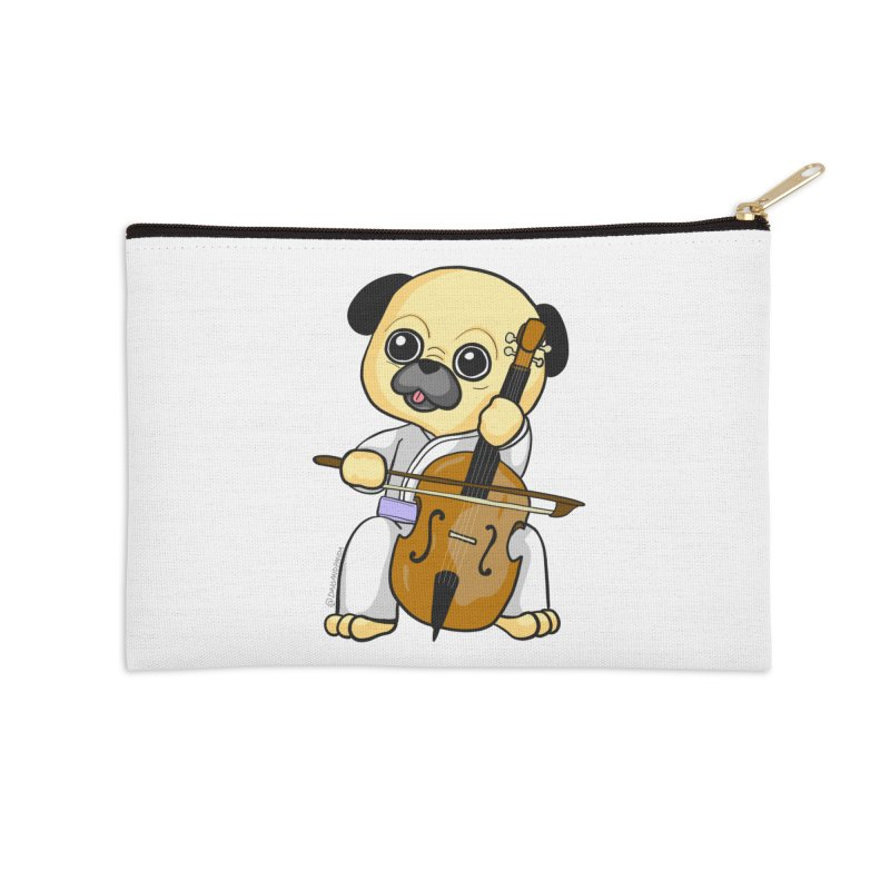Puggie plays the Cello Accessories Zip Pouch by Dino & Panda Inc Artist Shop