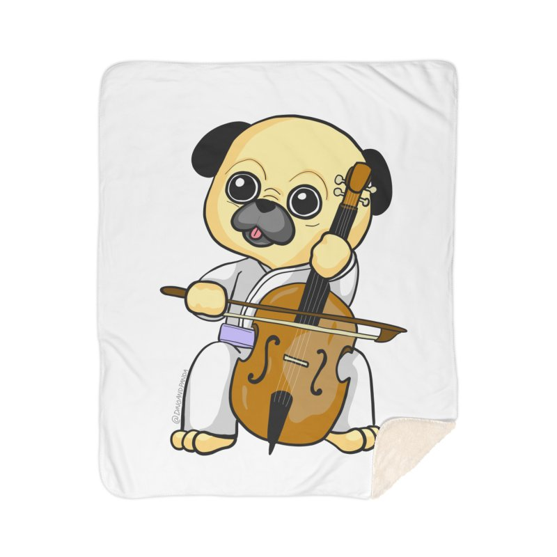 Puggie plays the Cello Home Sherpa Blanket Blanket by Dino & Panda Inc Artist Shop