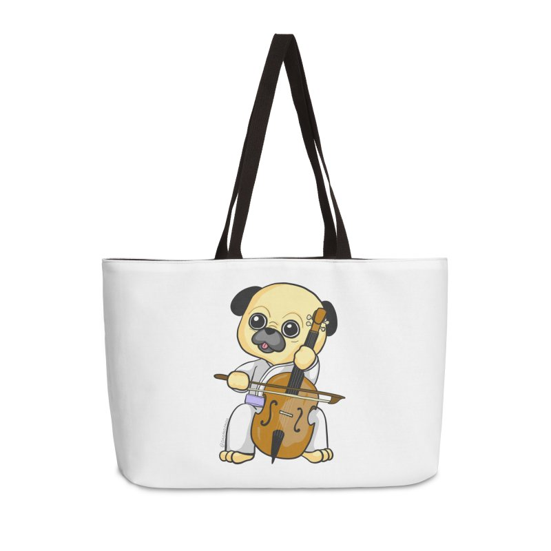 Puggie plays the Cello Accessories Weekender Bag Bag by Dino & Panda Inc Artist Shop