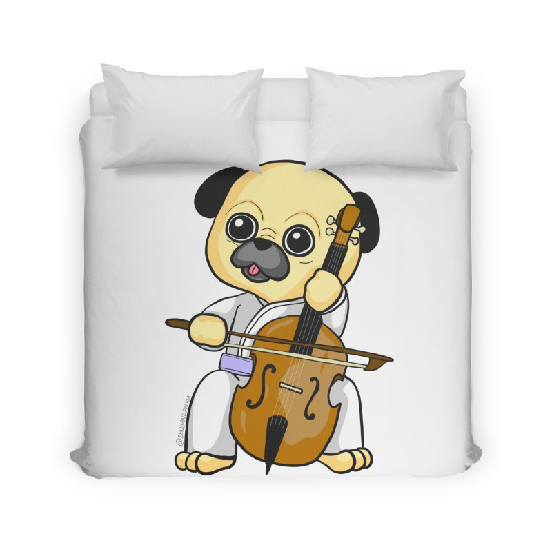 Puggie plays the Cello Home Duvet by Dino & Panda Inc Artist Shop