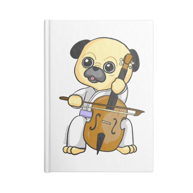 Puggie plays the Cello Accessories Lined Journal Notebook by Dino & Panda Inc Artist Shop