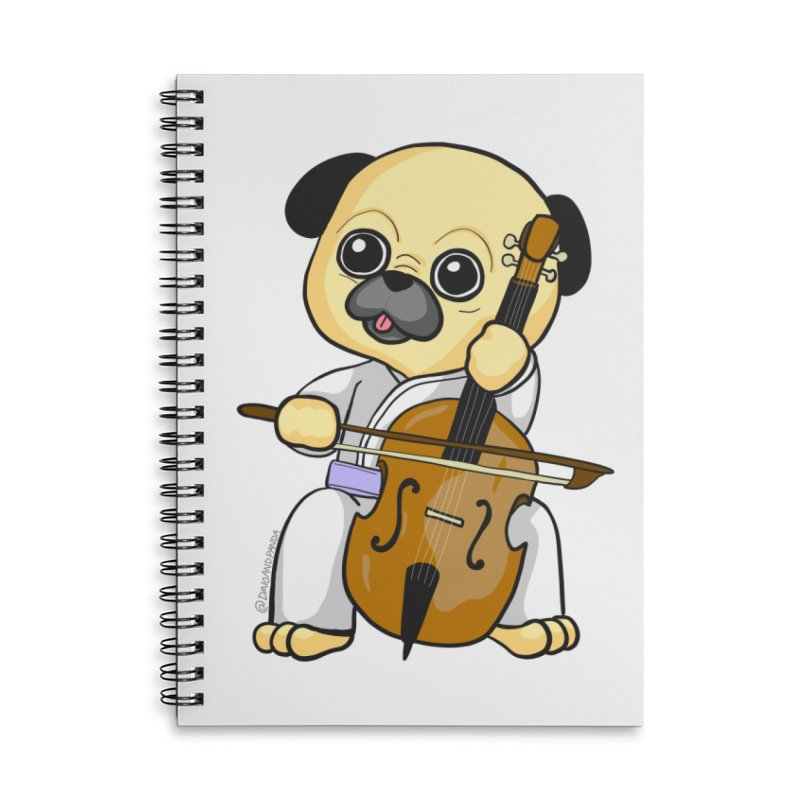 Puggie plays the Cello Accessories Lined Spiral Notebook by Dino & Panda Inc Artist Shop
