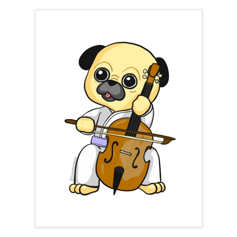 Puggie plays the Cello Home Fine Art Print by Dino & Panda Inc Artist Shop