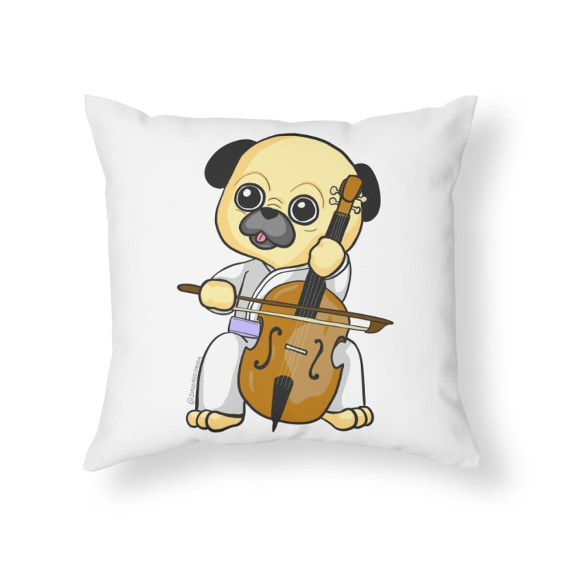 Puggie plays the Cello Home Throw Pillow by Dino & Panda Inc Artist Shop
