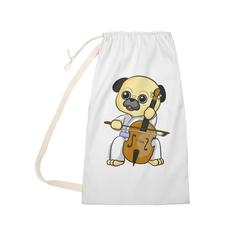 Puggie plays the Cello Accessories Laundry Bag Bag by Dino & Panda Inc Artist Shop