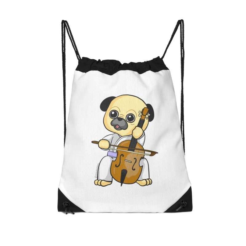 Puggie plays the Cello Accessories Drawstring Bag Bag by Dino & Panda Inc Artist Shop