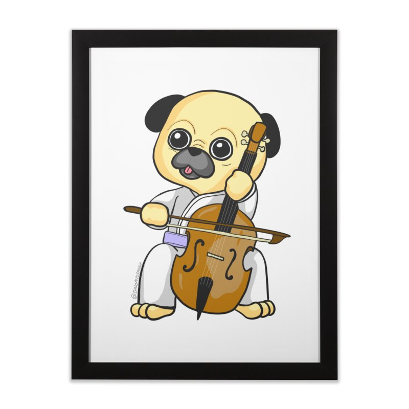 Puggie plays the Cello Home Framed Fine Art Print by Dino & Panda Inc Artist Shop