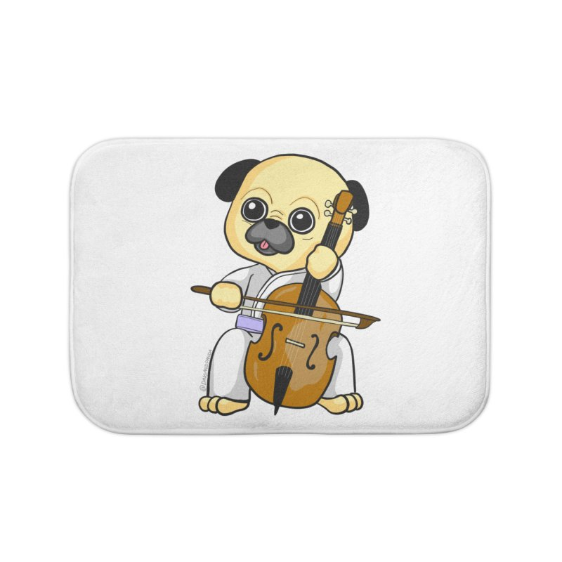 Puggie plays the Cello Home Bath Mat by Dino & Panda Inc Artist Shop