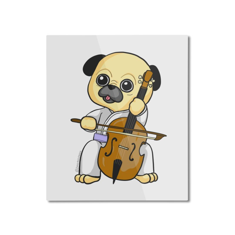 Puggie plays the Cello Home Mounted Aluminum Print by Dino & Panda Inc Artist Shop
