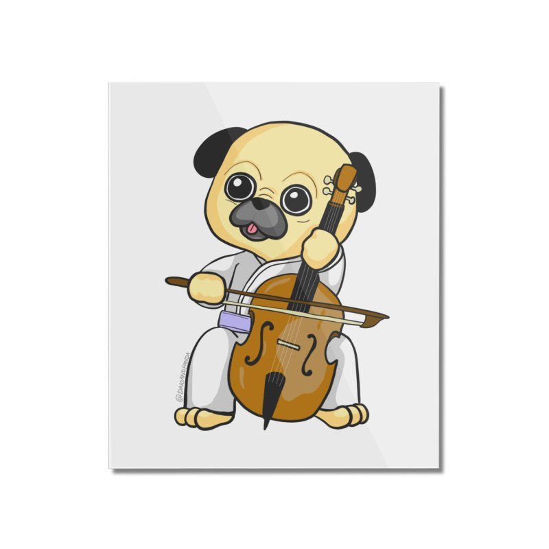 Puggie plays the Cello Home Mounted Acrylic Print by Dino & Panda Inc Artist Shop