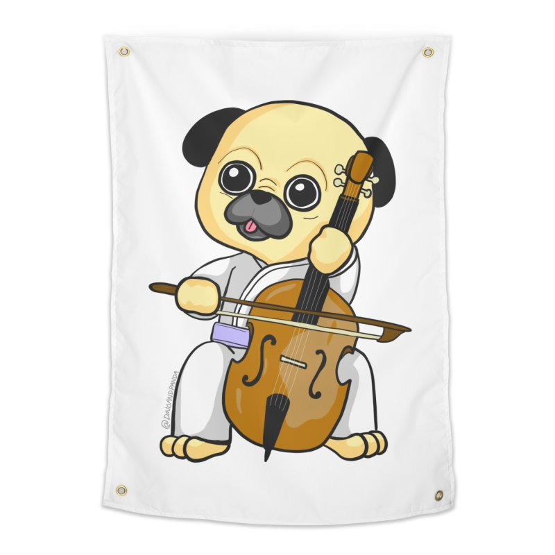 Puggie plays the Cello Home Tapestry by Dino & Panda Inc Artist Shop